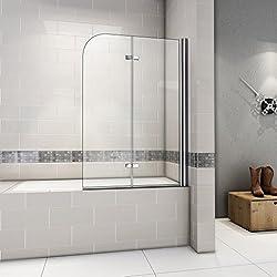 120x140cm Pare baignoire pivotant 180°, porte de baignoire, paroi de baignoire, 6mm verre trempé anticalcaire
