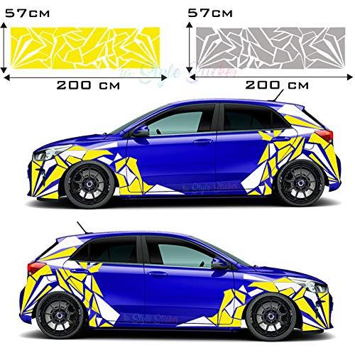 Auto Aufkleber Seitenaufkleber Dreiecke Hexagon Flecken Camo Dekor Atom Style Reislack Dreiecke