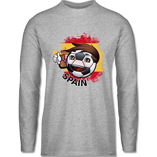 Shirtracer Fußball-WM 2018 - Russland - Fußballjunge Spanien - Herren Langarmshirt Grau Meliert