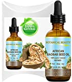 AFRICAN BAOBAB SEED OIL. 100% Pure / Natural / Undiluted / Refined / Cold Pressed Carrier Oil For Skin, Hair, Lip And Nail Care. Rich In Vitamins A, D, E And F And E. (0.5 Fl.oz-15ml.) Botanical Beauty.