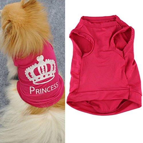 e Nette Prinzessin T-shirt ❤️Kleidung Weste Sommer Mantel Puggy Kostüme (Pink, L) (Elvis Kostüm Für Hund)