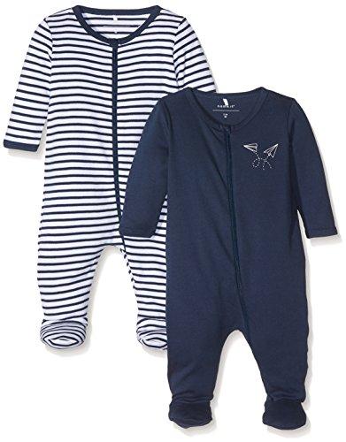 NAME IT Baby-Jungen Schlafstrampler Nbmnightsuit 2P Zip W/F Dress Blues Noos, 2er Pack, Mehrfarbig (Dress Blues), 62