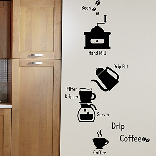 wandaufkleber 3d schlafzimmer Kaffeemaschine Kaffeekanne Bohne für Coffee Shop Konditorei...