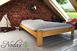 """New wooden solid pine bedframe """"F15"""" with sturdy plywood slats (135 x 190 cm, alder)"""