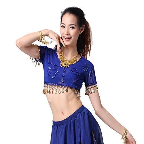 Women Sexy Dance Tops Bauchtanz Costume Embroidered With Coins Short Top Dancewear Bauchtanz Tops Red