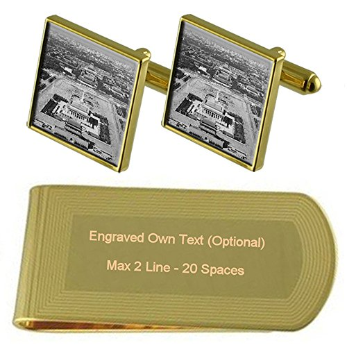Select Gifts China Tiananmen-platz Gold-Manschettenknöpfe Geldscheinklammer Gravur Geschenkset