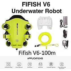 Drone sous-marin Caméra photo Fifish V6 QYSEA Grand angle 162˚ 6 Directions de mouvement 4K UHD 12 Mp Câble 100 m 64GB Enregistrement Photo Vidéo Pêche Monde Sous-marin 843816