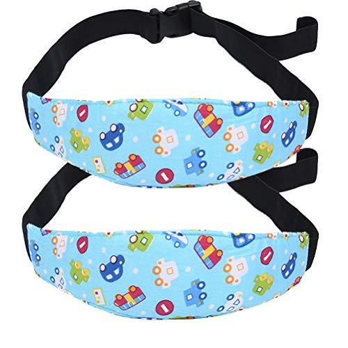 NUOBESTY 2pcs Kindersitz Befestigung einstellbare Kopfstütze Baby Kindersitz Kopf Halter Hilfe Schlaf für Kinderwagen Kindersitz Autositz (Blaue Auto)