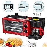 BKMKL 9L Multifunción 3 en 1 Máquina de Desayuno Horno Tostador Sartén eléctrica Cafetera, Rojo