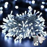 Qedertek Guirlande lumineuse, Blanc, 100 LED(10m), Ligne électrique 3m, Décoration pour intérieur et extérieur, Vitrine, Bistrot, Noël, Mariage