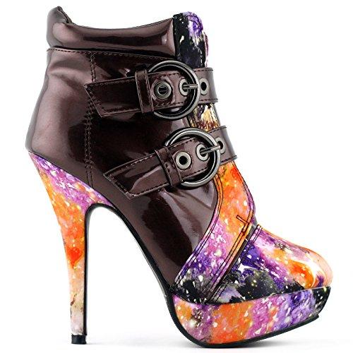 Show Story LF30301 Boots à talon aiguille haut et plateforme avec boucles brown