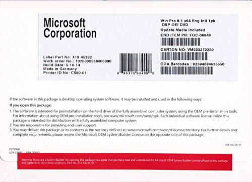 Microsoft Windows 8.1 Pro - Sistemas operativos (Original Equipment Manufacturer (OEM), 20 GB, 2 GB, 1 GHz, ENG, DVD)