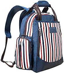 Baby Nappy Bag Backpack – Ollimy Nappy Changing Bags Backpack Rucksack Organiser Designer For Mums Girls Women – Baby Changing Bag Large With Changing Mat & Insulated Pocket (Stripe & Navy)