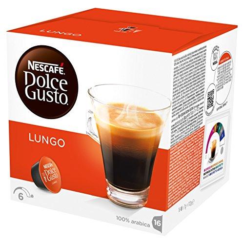 Nescafé Dolce Gusto Lungo Kaffeekapseln (100% Arabica Bohnen, Kräftiges Aroma und Feinste Crema, Doppelter Espresso Genuss, Blitzschnelle Zubereitung) 3er Pack (3 x 16 Kapseln)