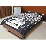 Jaipur Kala Kendra Indian Single Bed Sheet Tree of Life Bed Cover Good Luck Black Color Elephant Wall Hanging Hippie Bedspread Throw Life Decor Cotton Bohemian Gypsy Twin New Age Dorm