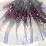 Organza-Stoff mit Perlen in Regenbogenfarben, 5 m purple
