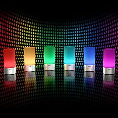 AUKEY Tischlampe, 360° Berührungssensor Nachttischlampe mit RGB Farbwechsel Tischleuchte1 Warmweißes Licht in 3 Helligkeitsstufen von AUKEY