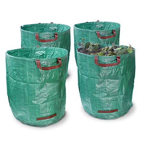 ECD Germany 4er Set Gartensack 270L 67 x 76 cm bis 50 kg belastbar faltbar aus robusten Polyethylen-Gewebe mit Griffen Laubsack Rasensack Abfallsack Müllsack Gartenabfallsack
