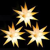 3 Sterne beleuchtet weiss mit gelben Spitzen, Sternschmiede (ArtNr. 302) mit Netzteil