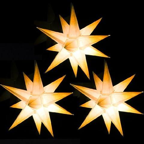 3er Set beleuchtete Sterne aus Papier, weiß mit gelben Spitzen, 3d Weihnachtssterne fürs Fenster - Bockelwitzer Stern (Art.Nr.202) inkl. Netzteil mit 3-fach-Verteiler, Fenster-Clip und Distanz-Stab, Durchmesser 19 cm, Papier, komplett handgefertigt, für den Innenbereich