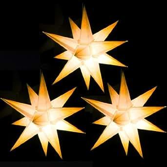 3er set beleuchtete sterne aus papier wei mit gelben spitzen 3d weihnachtssterne f rs fenster. Black Bedroom Furniture Sets. Home Design Ideas