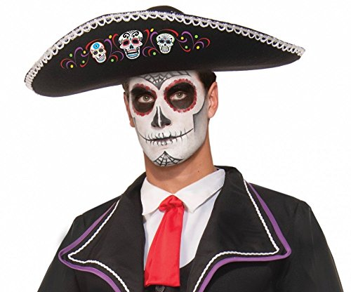 shoperama Dia De Los Muertos Sombrero mit mexikanischem Totenkopf-Motiv Tag der Toten Day of The Dead