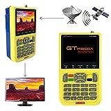 GT MEDIA V8 Satellite Finder DVB S2 Localizadores de Satélites Buscador de satélite FTA Receptor de Señal de Satélite de TV Digital HD, 3.5' LCD Batería 3000mAh Incorporada
