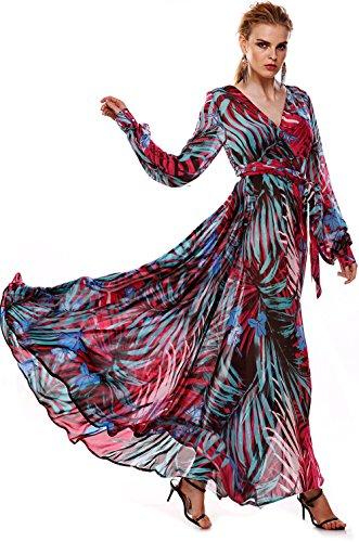 ACEVOG-Maxi-Vestido-Floral-de-Boho-de-Cctel-Fiesta-y-Playa-de-la-Mujer