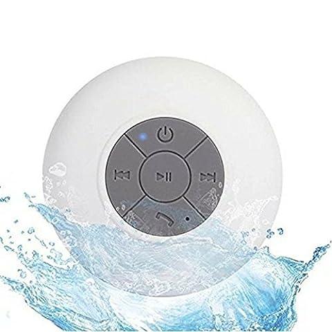 Enceinte à ventouse Bluetooth Waterproof IPx6 Rechargeable, Mini Haut-parleur Portable Etanche Sans Fil Micro Main-libre Pour La Douche, Compatible avec iPhone, Samsung et Autres Androids