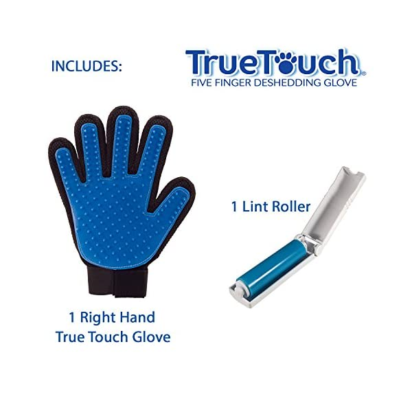 Allstar Innovations True Touch Five Finger Deshedding Glove- Premium Version, Great for Cats & Dogs- Includes 1 Authentic True Touch Glove 1 Lint Roller- As Seen on TV 2