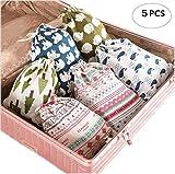 5 Pcs Speicher Taschen aus Leinen für Reisen Fällen für Tücher für Digitale Geräte für Kosmetik für Spielzeug für Kleine Dinge Multi Funktion Organizer für Schublade Kleiderschrank