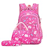 OOGUOSHENG Waterproof School Bags For Girls Princess School Backpacks Set Kids Printing Children Backpacks Schoolbag Kids,Rose Red