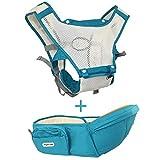 Transportista de cintura de verano transpirable, 6 en 1 para llevar el portabebés, seguridad para bebés y niños, asiento de Hipseat, cómodo algodón (verde)