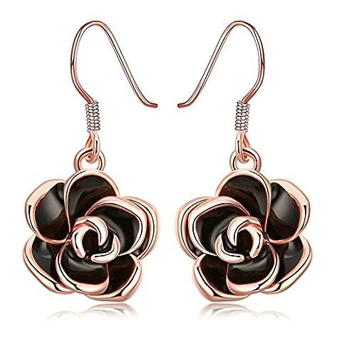 Knsam Boucles d'Oreilles Fantaisie Plaqué Or Rose Drop Earrings Fishhook Blossom Rose Noir Oil Drip Or Rose