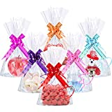 Hestya 50 Counts 15 x 25 cm Clear Flat Cello Cellophane Treat Bags Cellophane Block Bottom Storage Bags Sweet/Party/Gift/Home Bags with Colorful Bag Ties