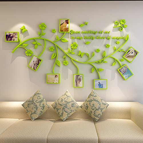 Preisvergleich Produktbild HCCY Foto Wandrahmen Acryl Kristall 3D dreidimensionale Baum Wandaufkleber Wohnzimmer Eingang Schlafzimmer Sofa Hintergrund Wand Aufkleber Kinderzimmer Aufkleber,  grün,  klein