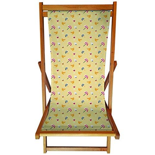 My Custom Style® Chaise longue en bois naturel et drap imprimé à haute résoluti