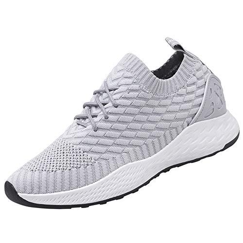 PAMRAY Herren Turnschuhe Sport Jogging Freizeitschuhe Low-top Weich Socken Laufschuhe Slip on Knit Sneaker Fitness Straßenlaufschuhe Causal Grau 43 - Bereich Sneaker