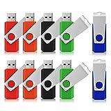 USB-Sticks 4GB, TOPESEL 10 Stück Speicherstick USB 2.0 Memory Sticks Pen Drives, 360° Drehbar Metall Design mit Schlüsselanhänger, (5 Mehrfarbig Schwarz Blau Grün Rot Orange)