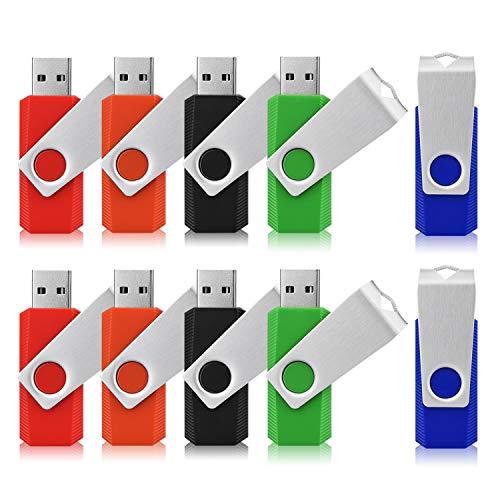 TOPESEL 10 Stück USB-Sticks 8GB USB-Memory Stick USB 2.0 Speichersticks Flash-Laufwerke Drehbar Design Thumb-Laufwerke Flash Drives(5 Bunt: Schwarz Blau Grün Rot Orange)