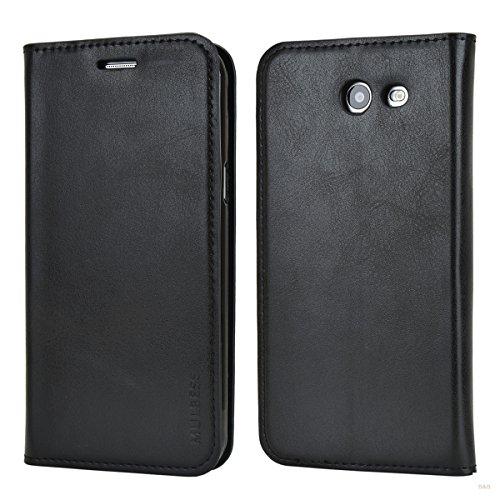 Mulbess Samsung Galaxy A3 2016 Hülle, Leder Flip Tasche mit Wallet Case für Samsung Galaxy A3 Handy Tasche Cover Etui, Schwarz