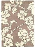 Teppich Wohnzimmer Carpet modernes Design Matrix Devore Blumen Rug 100% Wolle 200x300 cm Rechteckig Braun | Teppiche günstig online kaufen