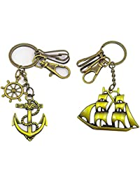 Metal Ship And Anchor Shape Golden Color Key Chain Combo For Your Car Bike Home Office Keys