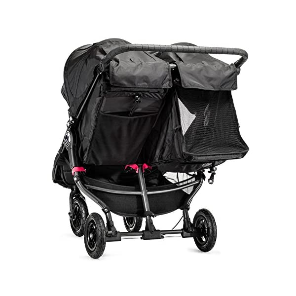 Baby Jogger City Mini GT Double Stroller Black  Taking a little detour is fun, the City Mini GT Double offers all-terrain wheels that let you make your own rules; the all-terrain wheels and front wheel suspension work in unison to give you full control on where and how you go while keeping your little one comfortable Lift the straps and the City Mini GT Double folds itself: Simply and compactly, it really is as easy as it sounds; the auto-lock will lock the pushchair for transportation or storage An adjustable handlebar can accommodate different heights and a hand-operated parking brake keeps all the controls within reach 9