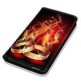 Hülle Galaxy S5 / S5 Neo Hülle Samsung S5 / S5 Neo Schutzhülle Handyhülle Flip Cover Case Samsung Galaxy S5 / S5 Neo (OM1087 Ring Ringe Feuer Ehe Hochzeit Rot Gold)