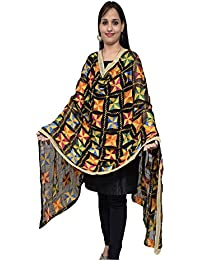 S.K. Ethnic India Women's Phulkari Dupatta Hand Embroidered Stole Black Free Size