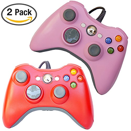 FSC Mix 2Stück USB Wired Game Pad Controller für Verwendung mit Xbox 360, Windows 105Farben rot/pink (Rosa Für Xbox 360 Konsole)
