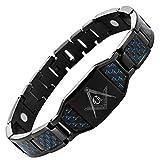 MasonicMan schwarz Herren-Armband Titan Freimaurer-mit blauen Kohlefaser-Einsätze + Demontagewerkzeug