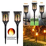 ParaCity Solar Garden Light Waterproof Tiki Torch Light 96 LED Flickering Dancing Flame Lantern Lights Waterproof Landscape Lights Outdoor Security Path Light Dusk to Dawn Auto On/Off for Patio Deck Yard Driveway (2 Pack)