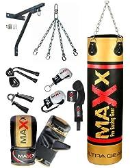 12 pcs punchbag set blk/Gold bag gloves, wall bracket gloves & more bag size 3ft, 4ft,5ft